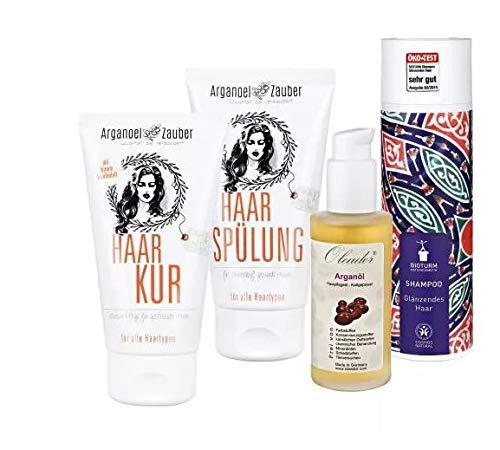 Arganoel-Zauber Set traumhafte Haare - Arganöl, Shampoo Haarspülung und Haarkur - machen Ihr Haar Routine einfach perfekt!