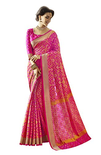 EthnicJunction Women's Patola Silk Saree With Blouse (Pink_EJ1163-4001)