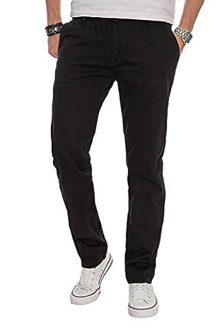 A. Salvarini Herren Designer Chino Stoff Hose Chinohose Regular Fit AS016 [AS016 - Schwarz - W31