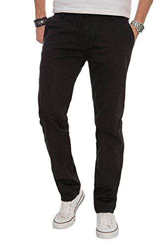 A. Salvarini Herren Designer Chino Stoff Hose Chinohose Regular Fit AS016 [AS016 - Schwarz - W32 L32]