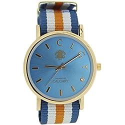 Relojes Calgary Palm Beach esfera azul turquesa con correa a rayas naranja, azul y blanco