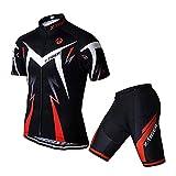 X-TIGER da Ciclismo Uomo 5D Gel Salopette Pantaloncini Corti Imbottiti Set di Abbigliamento Ciclista (2XL, Rosso Maglia+Pantaloncini Corti)