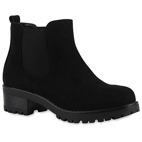Stiefeletten Damen Chelsea Boots Profilsohle Blockabsatz Leder-Optik Booties Schuhe 111294 Schwarz Bernice 36 Flandell