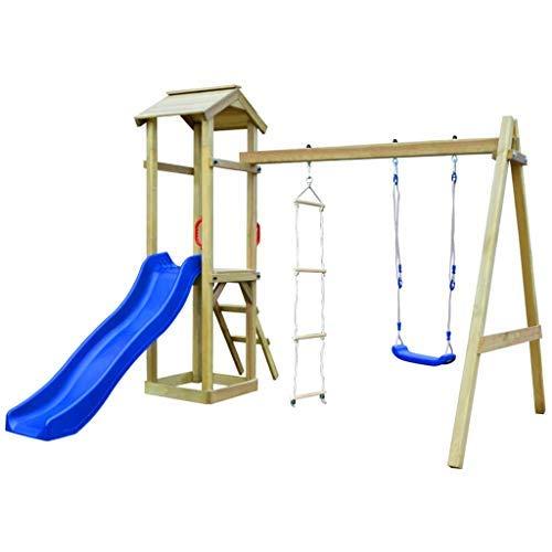 Tidyard casa giochi con scivolo scala altalene 242x237x218 cm legno fsc