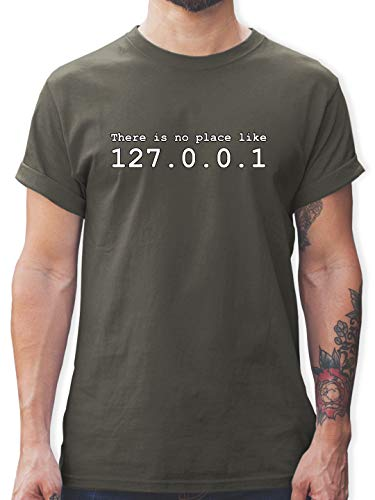 Programmierer - There is no Place Like 127.0.0.1 - M - Dunkelgrau - L190 - Herren T-Shirt und Männer Tshirt - Oversize-rechner