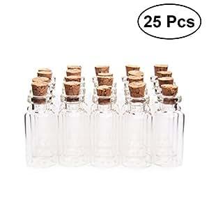 BESTOMZ Bottigliette vetro con tappi di sughero 25PCS