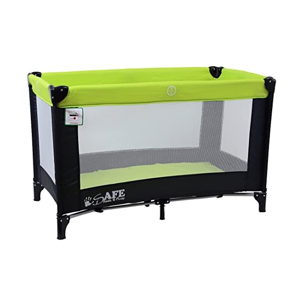 iSafe Rest & Play Luxury Travel Cot/Playpen - Lime (Black/Lime) 120 cm x 60 cm Rest & Play Luxury Travel Cot / Playpen Four Mesh Side Panels Allow Ventilation & Easy Viewing Of Your Little One Complete With Handy Carry Bag Complete With Shoulder Handle Straps Or Carry Handle 3