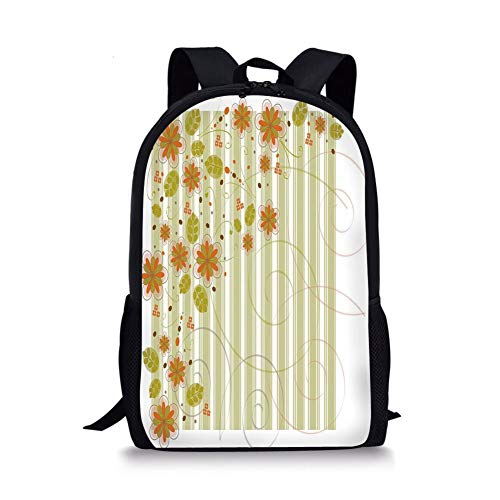 School Bags Floral,Retro Flourishing Spring Flowers and Swirled Branches on Striped Background,Green Orange White for Boys&Girls Mens Sport Daypack -