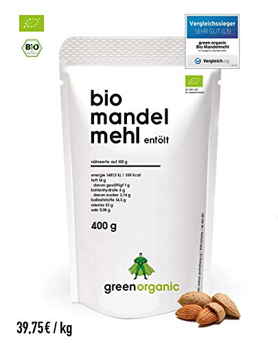 BIO PREMIUM MANDELMEHL | Weiss | Lower-Carb | Glutenfrei | Vegan | Entölt | Proteinreich | Ballaststoffreich | Paleo Superfood | Nachhaltig und Fair angebaut | 400g