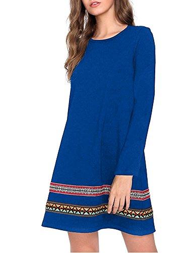 iClosam Women Long Sleeve Ethnic Print Simple Loose Swing Flowy A-Line Tshirt Tunic Mini Flare Dress