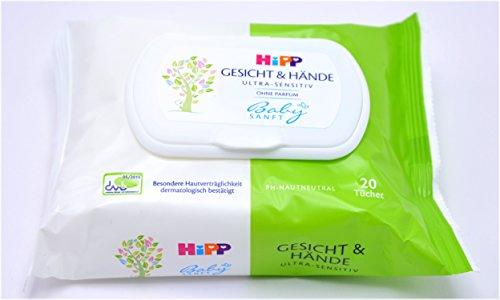 2x HiPP Babysanft Gesicht & Hände Tücher - 20 Stück- 2er Pack