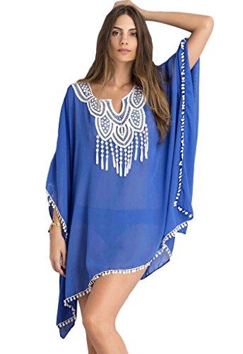 Damen Kimono 3/4 Fledermaus Hülsen Cardigan Frauen Boho Lose Chiffon-Schal Bluse Strandkleid Bikini Cover Up mit Spitze Blau