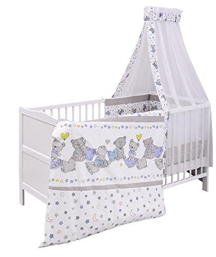 Urra Komplett-Kinderbett Luca 70x140 cm Kiefer weiß | teilmassiv | inklusive Bettset 3-teilig | Matratze | Himmelstange | Bärle
