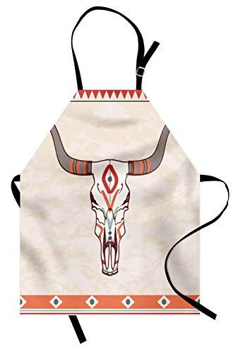 Delantal de cuernos largos, Ilustración de calavera de toro esencial tribal con adornos de temática étnica, Delantal de cocina unisex con cuello ajustable para cocinar Hornear Jardinería, Crema multic