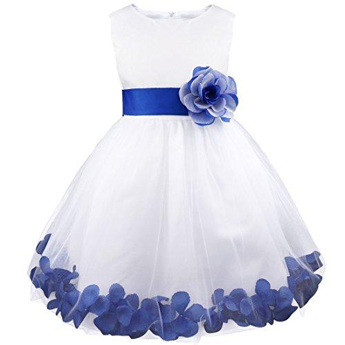 Günstige Blumen-mädchen-kleider (iEFiEL Mädchen Kleid Pinzessin Blumen-Mädchen Kinder Weiß Kleid Hochzeit Festkleid Kommunionkleid 92 98 104 110 116 128 140 152 164 Marineblau 104)