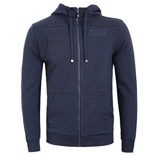 7c6a81a53 BOSS Hugo Green Men 'Saggy' Full Zip Logo Hoodie (Large, Navy)
