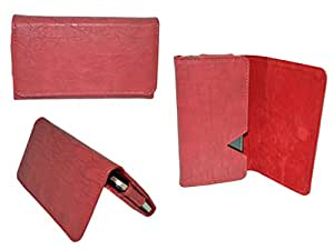 Premium Branded Fabric Leather Card Holder Pouch for Vivo X5Max Plus - RED - WTPRD60#1757