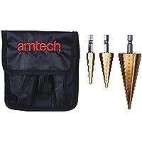 Am-Tech 3 piezas de acero de alta velocidad Paso Taladro Set, L, F0790