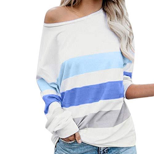 Innerternet Damen Pullover Langarmshirt Streifen Sweater Harry Potter Brille Rundhals Langarm Schulterfrei Bluse Long Sweatshirt Casual Offshoulder T-Shirt (Harry Potter Krawatte Und Hemd)