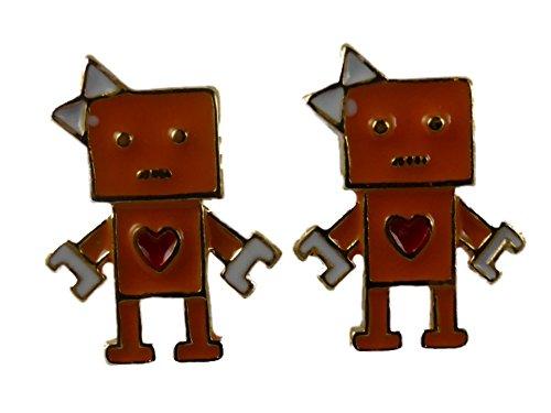 Ohrringe Ohrstecker Stecker orange Roboter Mädchen mit Herz und Schleife IQ 7975