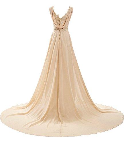 Milano Bride Damen Modisch V-Ausschnitt A-Linie Abendkleider Brautjungfernkleider Ballkleider Festkleider Chiffon mit Spitze Applikation Schleppe Wassermelone