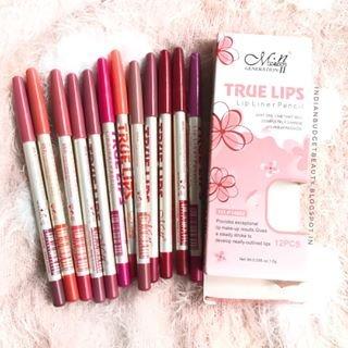 Menow True Lip Liners Pencil - 12Pcs