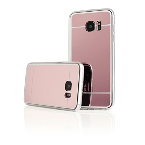 Image of 'Pink TPU Silicone Back Case Protective Cover Transparent Mirror Hard Case for Samsung Galaxy S7 Cover Case Bumper