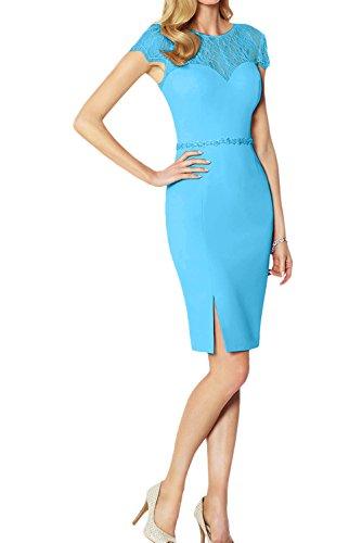 Ivydressing Modisch Neu 2017 Cocktailkleider Damen Rund Spitze Partykleider Abendkleider mit Kurzarm Blau