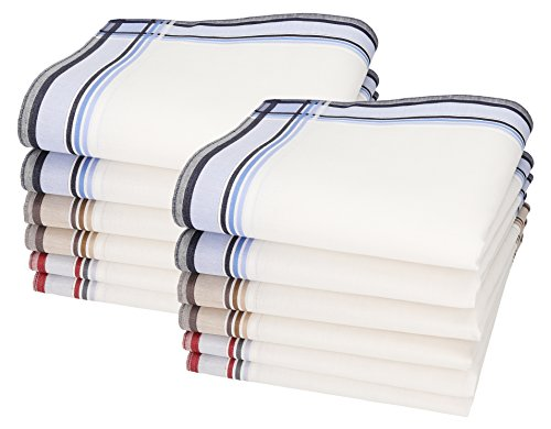 Betz 12 Stück Herren Stoff Taschentücher Set Leo 3 100% Baumwolle Größe 40x40 cm Dessin 3