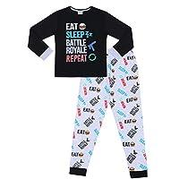 Eat Sleep Battle Royale Repeat Gaming Cotton Long Pyjamas (9-10 Years) Black