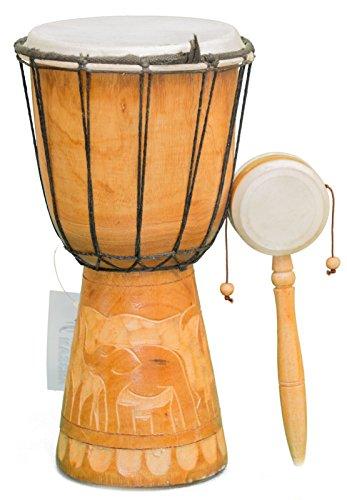Kascha - 30cm Djembe Trommel handgeschnitzt aus Mahagoni Holz Elefant 2 + Handtrommel Musikinstrument Schnüre
