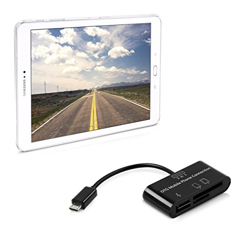 kwmobile 3in1 Micro USB OTG Kabel Adapter für Samsung Galaxy Tab S2 9.7 - Card Reader Tablet Kartenleser Anschluss für USB 2.0 / SD Karte/Micro SD Karte in Schwarz