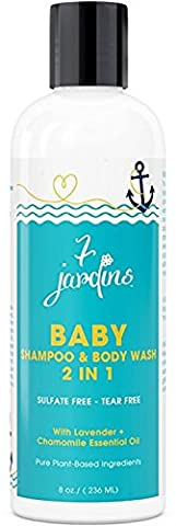 7 Jardins Natural Baby Shampoo And Wash - 2 In 1 Soothing For The Hair And Body Enriched In Calendula And Therapeutic Essential Oils. 8 Oz. Gentle For Children Of All