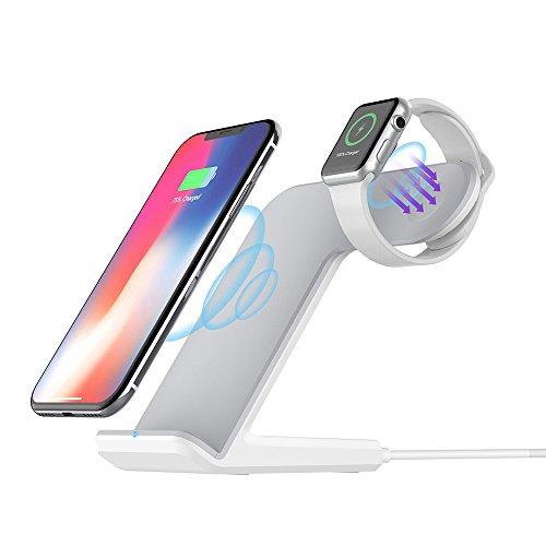 ADDANY Drahtlose Ladestation (QC3.0 Ladegerät Adapter enthalten) für iPhone XS Max/XR/X/8 Plus und Apple Watch 4/3/2, 10W Qi Kabelloses Ladegerät für Samsung Galaxy Note und alle Qi-fähigen Telefone - Apple Stand