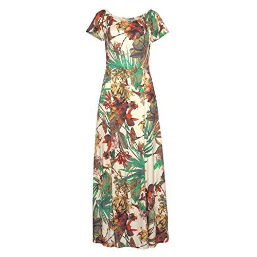 men Blumen Kleid Elegant Langarm Maxikleid Floral Print Böhmischen Strand Maxi Kleid Casual Partykleid ()