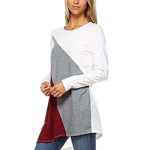 Vin beauty Damen 3 Farben Nähen Unregelmäßiger Saum Shirt mit langen Ärmeln (Ärmel T-shirt Pfeil-lange)