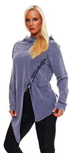 Trendige Damen Longshirt, Sweatshirt im Vintagestyle mit Reißverschluß, Oversize Look Jacke mit Kapuze Blau-Lang