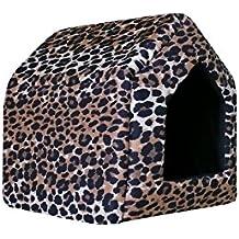 Perros cueva Perros Casa Cama Para Perros Caseta perro cesta Crazy Leopard (S: 38
