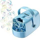 Máquina de Burbujas Portátil, KiddosLand Automatic máquina de soplado de Burbujas para party, Outdoor toys Alimentado por batería o adaptador de corriente alterna (batería no incluida), azul