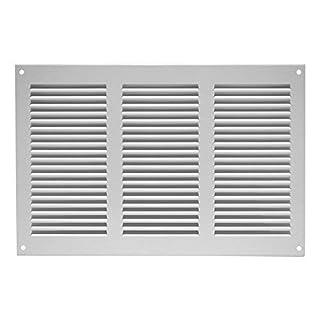 Lüftungsgitter - Abluftgitter - Wetterschutzgitter - mit Insektenschutz , 300x200mm , Metall, weiß , MR3020