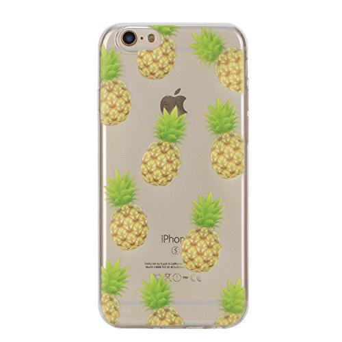Per iPhone 6 Plus/ 6S Plus Custodia morbido,Herzzer Mode Crystal Creativo Elegante Fenicottero Quadro Dipinto Design trasparente case cover,Protettivo Skin in Liscio Smooth Toccare Unico Molto sottile Ananas
