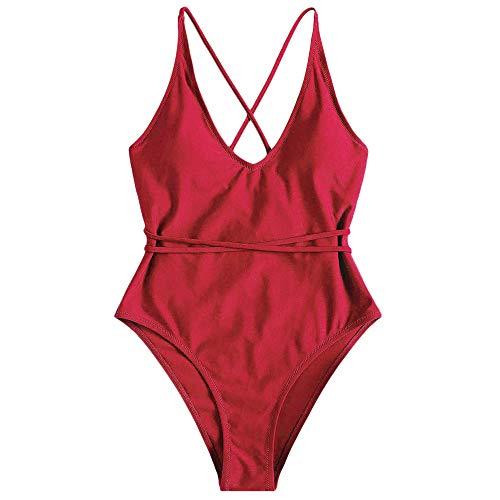 ZAFUL Set Bikini Donna Imbottito Costume da Bagno Intero Costume da Bagno con Schiena Aperta Pushup Sexy Beachwear