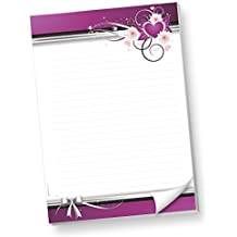 Schreibblock DIN A4 liniert lila Herzen (1 Stück) Briefblock Liebe mit Linien