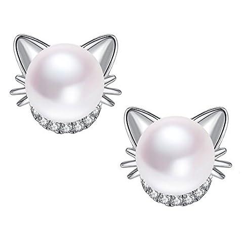 Damen Katze Sterling Silber Ohrstecker Süßwasser Perlen Ohrringe mit Katze Ohren Schnurrhaare und Zirkonia