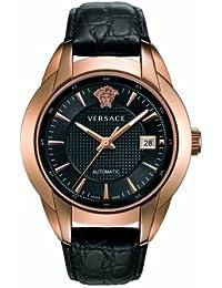 Versace 25A380D008 S009 - Reloj analógico automático para hombre, correa de cuero color negro (agujas luminiscentes)