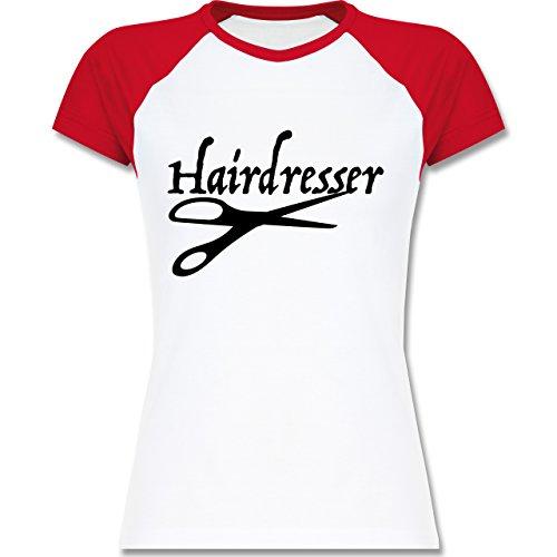 561dc6cf04f3 Shirtracer Handwerk - Friseur - Zweifarbiges Baseballshirt Raglan T-Shirt  für Damen Weiß
