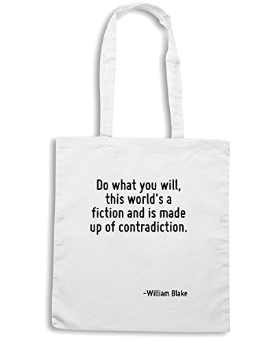 T-Shirtshock - Borsa Shopping CIT0062 Do what you will, this world s a fiction and is made up of contradiction. Bianco