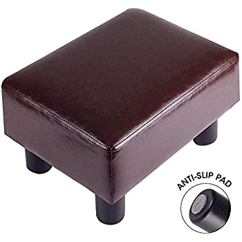 scriptract Modern Small Faux PU Leather Ottoman Footrest Stool Seat Chair Footstool Ivory