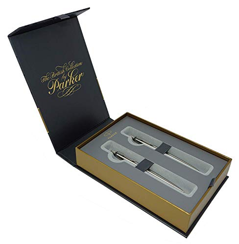 PARKER Jotter British Collection - Kugelschreiber und Druckbleistift in edlem Geschenkset, Stainless Steel C.C. Edelstahl Mattiert mit Clip (Bleistift + Kugelschreiber)