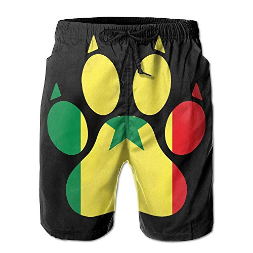 Men's Beach Shorts Fit Senegal Flag Dog Paw 100% Polyester Athletic Shorts-XXL